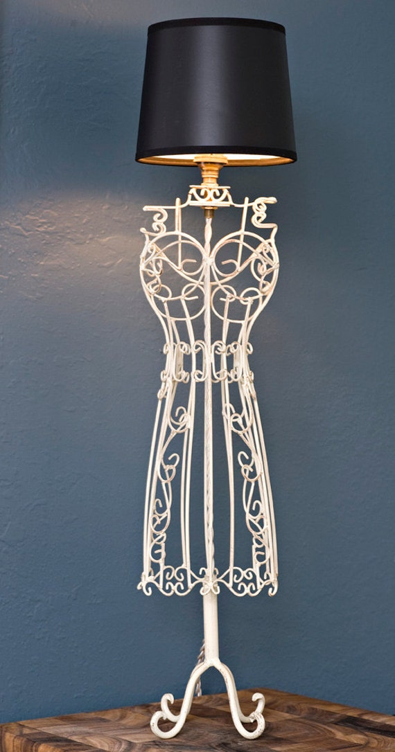 Vintage White Dress Form Lamp Black Shade Antique Wire