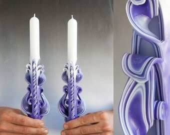 Purple candle set - Taper candles - Candle set