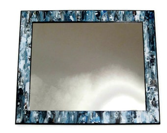 "Large Blue Decorative Mirror, Beach Mirror,  Hand Painted, 18"" x 24"""