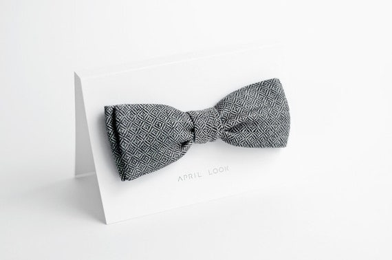 Grey wedding bow tie - double sided