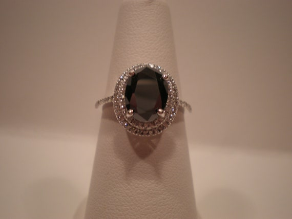 Oval Black Diamond Double Halo of White Diamonds Engagement