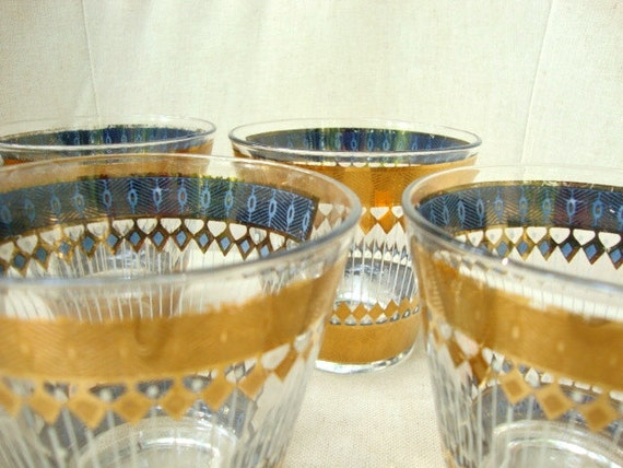 Gorgeous Vintage Highball Glasses, Mad Men, Bar Ware, Blue and Gold Glasses