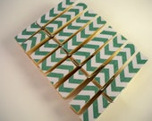 Chevron Clothespins. Set of 8. Home. Green/ Turquoise. Office. Chip Clip. Gift Wrap. Kitchen. Pin. Peg. Memo Clip.