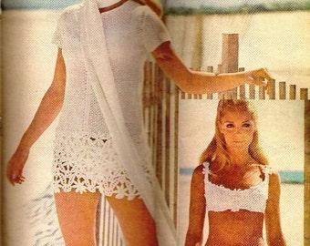 Vintage SwimSuit Crochet Pattern PDF Beach Dress 1970's Lace Flowers