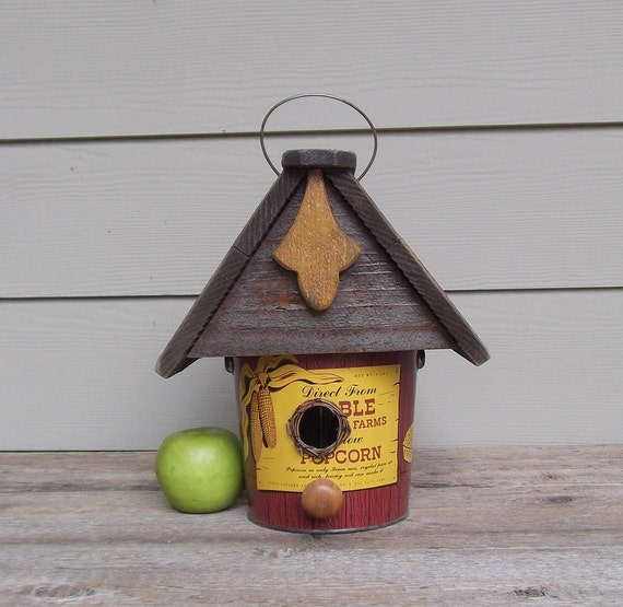 Vintage Popcorn Can Birdhouse, Tin Can Birdhouse, Whimsical Birdhouse, Repurposed, Decorative or Outdoor Birdhouse, Yellow