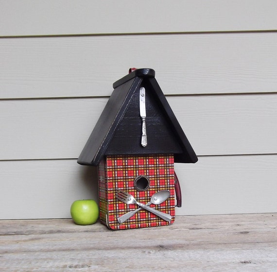 Decorative Box Lunches : Vintage school lunch box birdhouse ooak red and black by