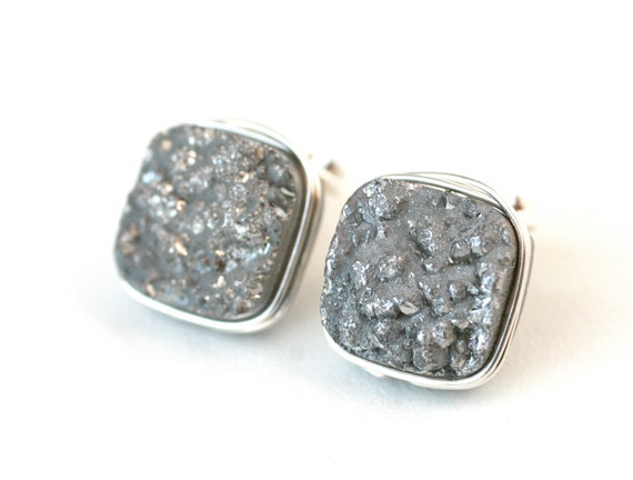 Silver Druzy Quartz Square Stud Earrings Wire Wrapped Post Sterling Silver - Gift for Her