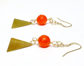 Triangle Earrings Orange Earrings Gold Jewelry Modern Jewellery Geometric Tangerine Jade Gemstone Hipster Fashion