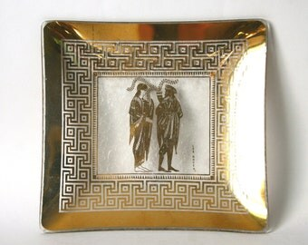 Mid century Modern, square glass plate, Lee Hager design, 1950's glass