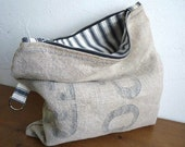 Vintage French POST BAG Folded POUCH, lined with antique ticking, postal bag, Cosmetic bag.