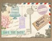 VINTAGE POSTCARD Save the Date Card or Fridge Magnet