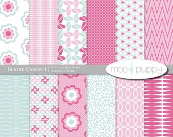 Digital Paper Pack -  Blaire Candy  -- INSTANT DOWNLOAD