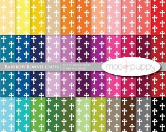 Digital Scrapbook Paper Pack  --  Rainbow Bonnie Cross -- INSTANT DOWNLOAD