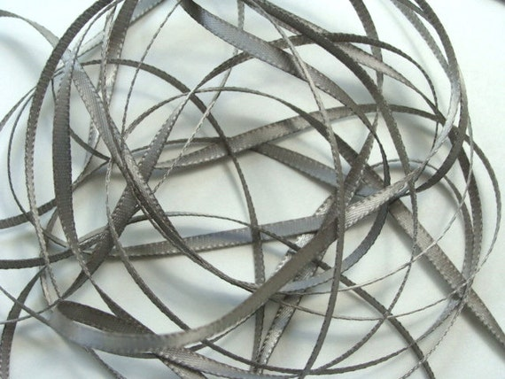 """1/8"""" Double-Faced Satin Ribbon - Silver - 10 Yards"""