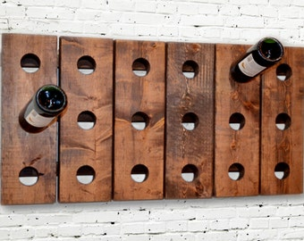 Wine Rack - Riddling Horizontal Wood Wall Hanging - Wine Organizer - Wine Holder - House Warming Gift - Wedding - New Home - Wall Mount Wood