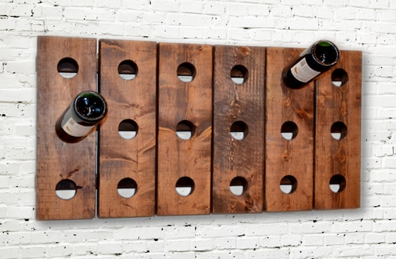 Wine Rack Riddling Horizontal Wood Wall Hanging (Walnut)