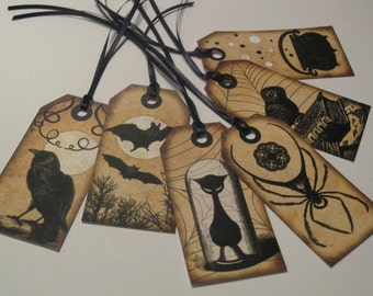 Gothic Vintage Halloween Themed Gift Hang Tag Set - Scrapbook Embellishment