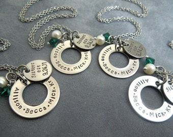 Bff / sisters Necklace set of 4- hand stamped stainless steel