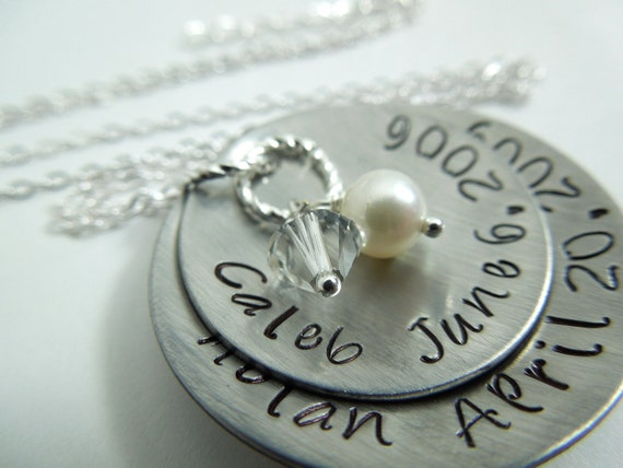 Mothers necklace hand stamped and domed stainless steel