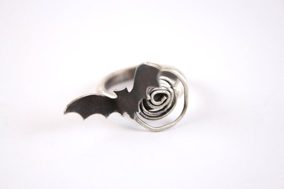 RESERVED for Yang-Sterling Silver Bat Ring-Halloween Rings-Bat Spiral Ring-Gothic Jewelry-Under 60