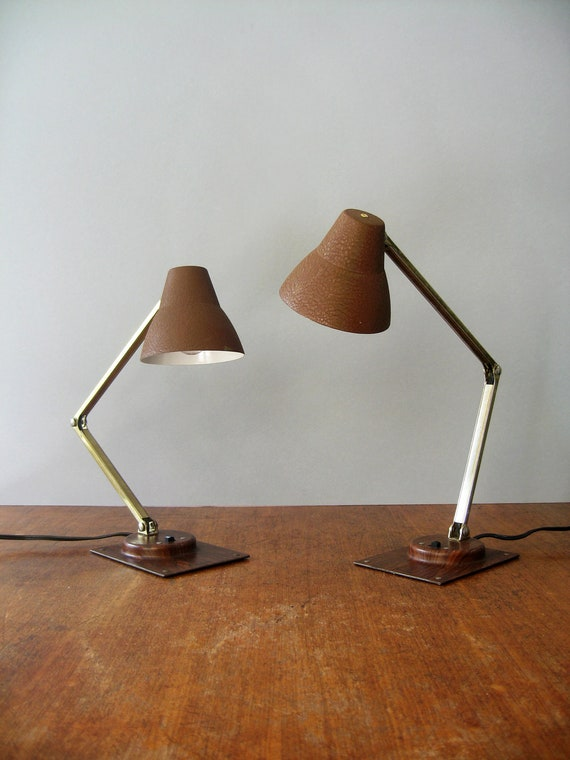 Pair Mid Century Tensor Lamps - Faux Bois and Brown