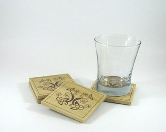 Wood Coasters - Wood Pyrography - Celtic Flower Coasters