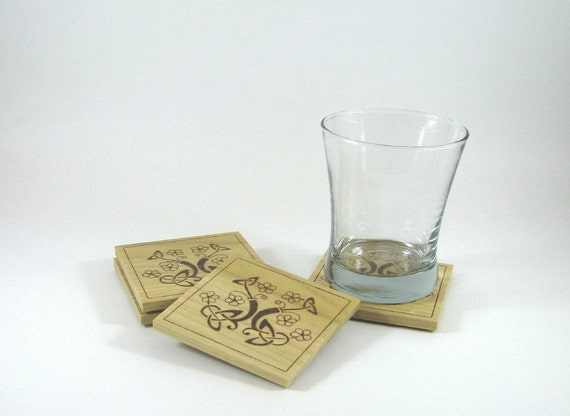 Wood Coasters - Wood Pyrography - Celtic Flower Coasters