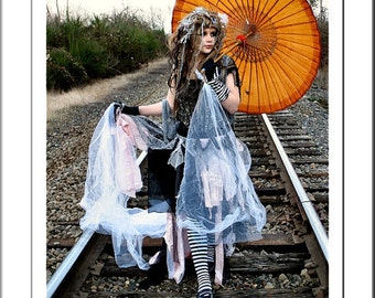 EXAMPLES: Custom Made tattered Fairy - Goth - Goddess - Nymph - Renaissance - Wedding - Costume - Theater - Steampunk - Dress - Gowns