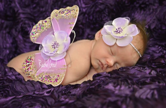 Butterfly Wings, Flower Headband, Lavender Lilac, Newborn Photo Prop, Baby Girls, Ready To Ship