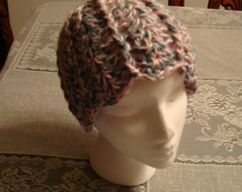 Hand Crocheted  Pink and Gray Teen to Adult Hat