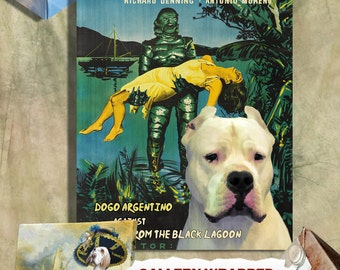Dogo Argentino Vintage Movie Style Poster Canvas Print  - Creature from the Black Lagoon Movie Poster