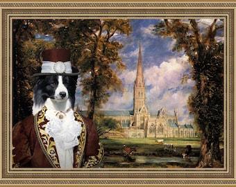 Border Collie  Art - CANVAS  Print - Fine Artwork - Dog Portrait -  Dog Painting - Dog Art - Dog Print – Custom Dog Art By Nobility Dogs