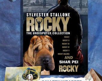 Shar Pei Vintage Art Poster Canvas Print  - Rocky Movie Poster NEW Collection by Nobility Dogs