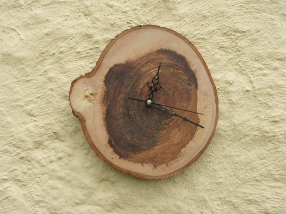 Rustic Wooden Wall Clock. A Simple Wood Clock Made From a Slab of Ash.
