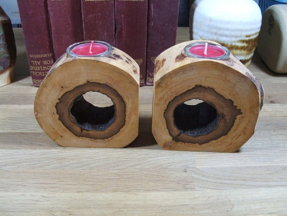 Rustic Bookends handcrafted Natural Sliver Birch Log Book or DVD Supports with built in Votive candle holders