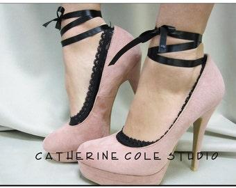 Lace socks for heels BLACK SWAN  ballerina slippers bridal wedding lace peep socks womens lace ankle socks Catherine Cole Studio FT3