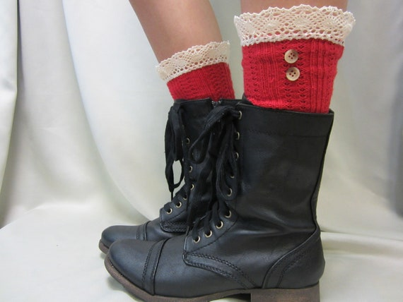 Miss Ncki short boot  lace socks RED perfect  for combat or cowboy boot socks by Catherine Cole Studio ruffled lace SLX1BL Made  in usa