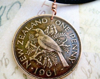 1947 1957 Coin Jewelry. Antique New Zealand TUI BIRD. coin necklace. Choose Year. songbird. honey eater. sparrow necklace. bird on branch