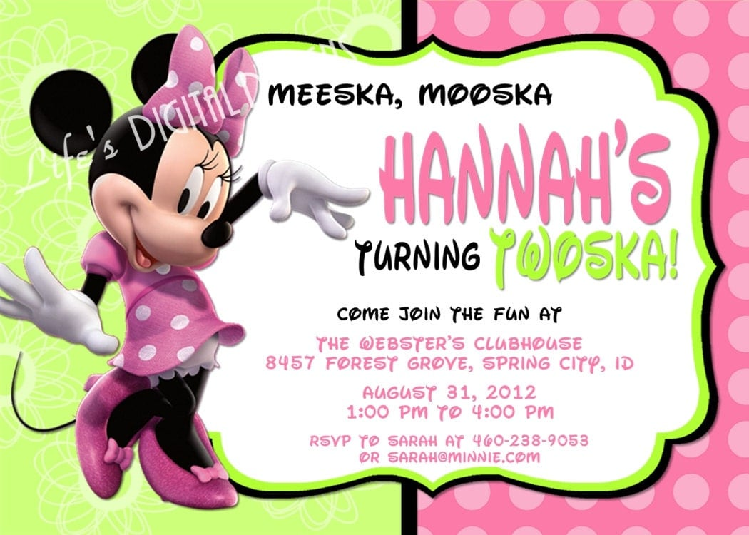 Minnie Mouse Birthday Invitations Green Pink Photo Option – Minnie Mouse 2nd Birthday Invitation Wording