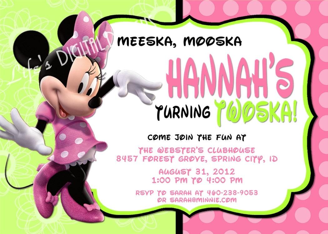 Minnie Mouse Birthday Invitations Green Pink Photo Option – Second Birthday Invitation Wording