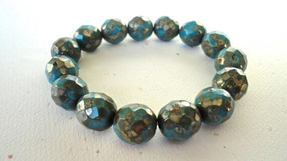 Czech Round Picasso Blue Glass Beads 5 Pieces