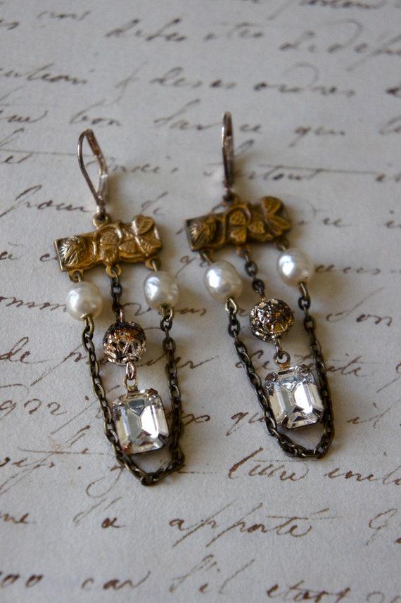Vintage Assemblage Earrings Haskell Pearls Rhinestones Chain