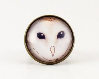 Barn Owl Ring, Bronze Adjustable Ring, Woodland Animal Art Jewelry