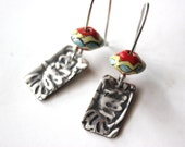 Sterling Silver  Tropical Indian Southwestern Earrings with Hand Painted Beads.