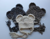 Crochet Soft Chunky Textured Cream, Brown/Blue or Grey/Beige Bear Baby Hat for Boy or Girl - NEWBORN or 0-3 mo - Made To Order