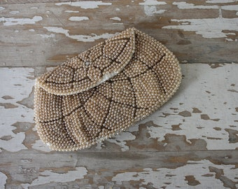 Vintage Hand Beaded Clutch Purse Made in Japan