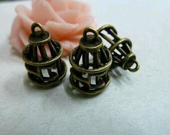 20pcs 10x17mm The Cage Antique Bronze Retro Pendant Charm For Jewelry Necklace Charms Pendants C56