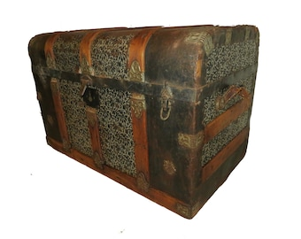 Steamer Trunk Rounded Corner Trunk Tin Wrapped Trunk Antique Trunk