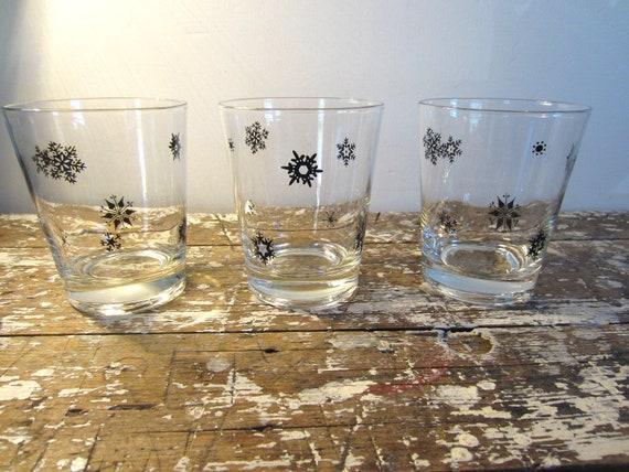 Black Snowflake Drinking Glasses Holiday Glasses Pyrex Black Snowflake Vintage Glassware