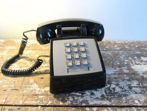 Vintage Phone Push Button Phone Black Telephone Vintage Housewares Home Decor